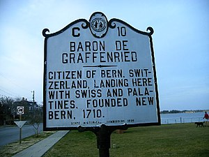 New Bern, North Carolina - Historical marker designating New Bern