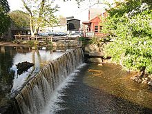 Photo of waterfall and millpond near the Bucks County Playhouse