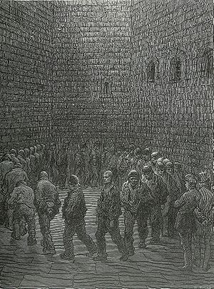 English: Newgate Exercise yard by Gustave Dore...
