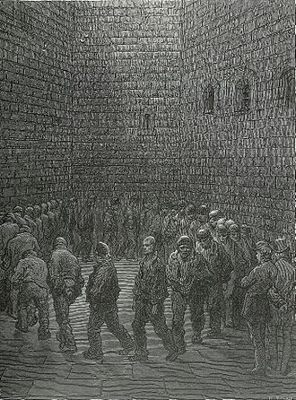 Newgate Prison - Newgate exercise yard, 1872, by Gustave Doré