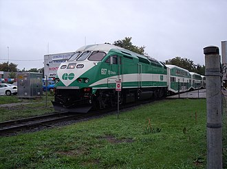 Newmarket GO Station - MP40PH powered train at Newmarket