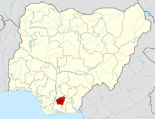 Ahiara is in Imo State which is shown in red.