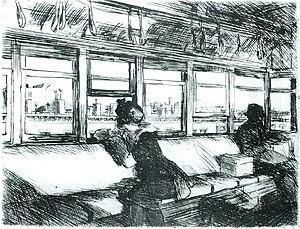 Edward Hopper - Night on the El Train (1918) by Edward Hopper