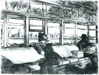 Edward Hopper - Night on the El Train (1918) by Edward Hopper