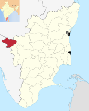 Localização do distrito de Nilgiris no estado do Tamil Nadu