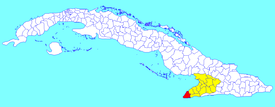 Niquero municipality (red) within  Granma Province (yellow) and Cuba