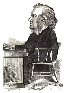 "Victorian caricature of man with large mutton-chop whiskers, seated at desk; scroll labelled ""Sermons"" and magazine ""Good Words"" beside him"