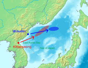 United Nations Security Council Resolution 1695 - Missile launch on July 4, 2006 by North Korea. Blue area estimates where the Taepodong-2 impacted on Sea of Japan