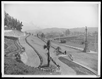 Elysian Park, Los Angeles - Park entrance, with Broadway on the right, about 1900