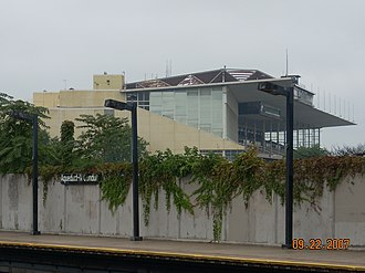Aqueduct–North Conduit Avenue (IND Rockaway Line) - View of Aqueduct Grandstand from the North Conduit station