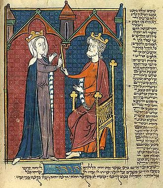 North French Hebrew Miscellany - Esther before Ahasuerus.