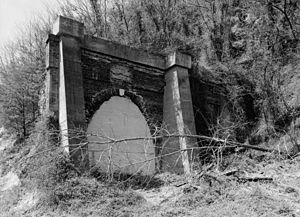 Greenwood Tunnel - Greenwood Tunnel after abandonment; the concrete buttresses are not original.
