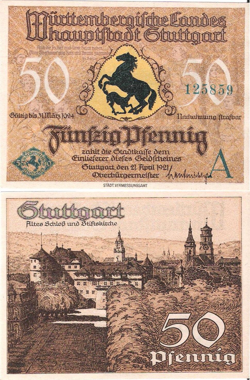 Notgeld Stuttgart 50Pf 1921