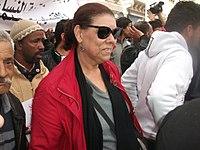 Noura Borsali lors d'une manifestation contre la violence politique. Tunis, le 9 Mars 2013.jpg