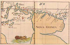 Yñigo Ortiz de Retez - Map of New Guinea, 1600