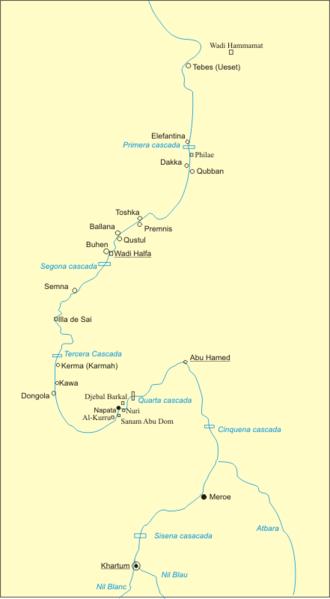 Semna (Nubia) - Location of Semna along the Nile River in Nubia
