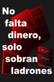 Occupy Wall Street Poster, 15-M, Indignados, Spanish, No Falta Dinero Solo Sobran Ladrones 105x160.png