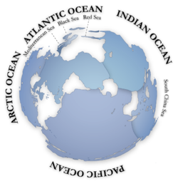 Lautan di dunia dilihat dari kutub selatan