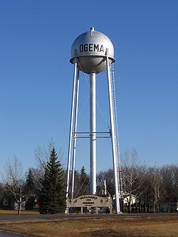Ogema water tower and welcome sign