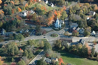 North Andover, Massachusetts - An aerial view of the North Andover Old Center showing the North Parish of North Andover Unitarian Universalist Church.