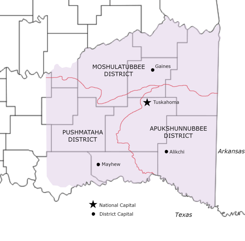 Former districts and capitals of Choctaw Nation, Indian Territory, that existed from 1834-1857, shown with present-day Oklahoma counties. Old Choctaw Nation District Map 1.png