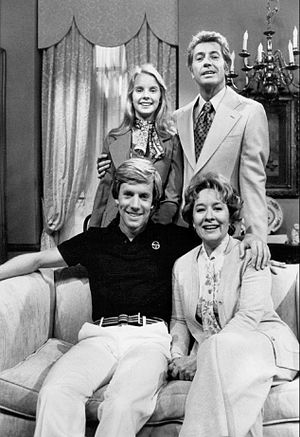 One Life to Live characters (1968–79) - Vernons, from left clockwise: Julia Montgomery as Sam, Farley Granger as Will, Teri Keane as Naomi, and Jameson Parker as Brad, 1977