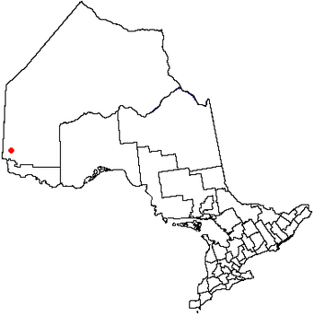Map of Ontario, Canada, showing city of Kenora.