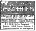 Ontario College of Art Grange 1922 newspaper ad.png