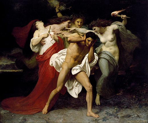The Remorse of Orestes, where he is surrounded by the Erinyes, who were identified as chthonic beings, by William-Adolphe Bouguereau, 1862 Orestes Pursued by the Furies by William-Adolphe Bouguereau (1862) - Google Art Project.jpg