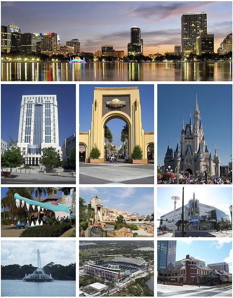Top row: Downtown Orlando; 2nd row: Orange County Courthouse, Universal Studios Florida, Cinderella Castle at Walt Disney World; 3rd row: Gatorland, SeaWorld Orlando, Amway Center; 4th row: Linton E. Allen Memorial Fountain, Camping World Stadium, Church Street Station