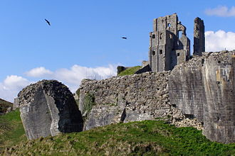 Maud de Braose - Corfe Castle; within whose dungeon Maud de Braose and her son William were starved to death
