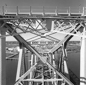 Outerbridge Crossing - View from top of tower through truss work