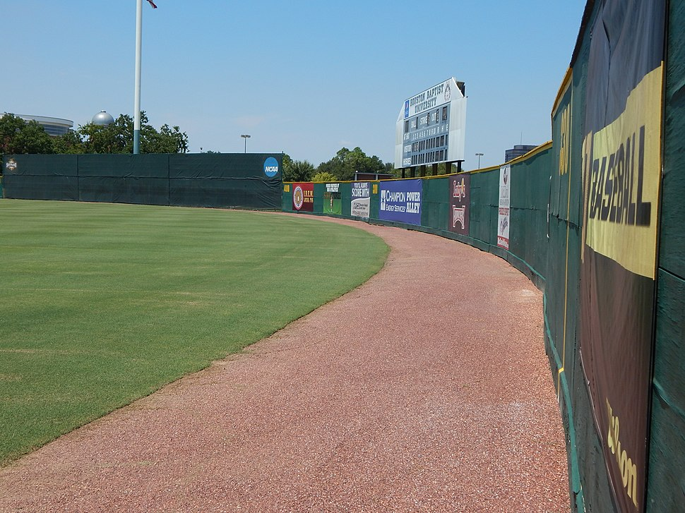 Outfield warning track from the right field line, Husky Field - Baseball