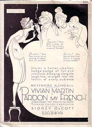 "Pardon my French - Poster for the 1921 movie Pardon My French, the character of the left uses the French profanity ""Diable !""."