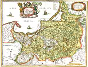 "Treaty of Labiau - The Duchy of Prussia (yellow) in a map of 1576, 1645 reprint. Labiau indicated as ""Labiaw"""