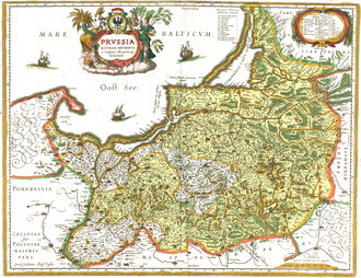 Royal Prussia - 1576 map of Prussia by Caspar Henneberg, Royal Prussia (without southern Pomerelia) appears in white