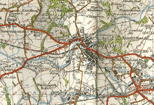 Padiham railway station - 1948 Ordnance Survey map showing location of Padiham station and local rail connections with Rose Grove railway station and Hapton railway station on the main line (both still open) and Simonstone railway station (closed) to the west