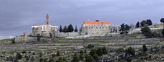 Charbel Makhlouf - Panoramic Photo of The Church and Monastery of Charbel Makhluf  Annaya - Lebanon taken in winter by Paul Saad.