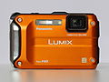 Panasonic Lumix DMC-TS3 (orange, front view).JPG