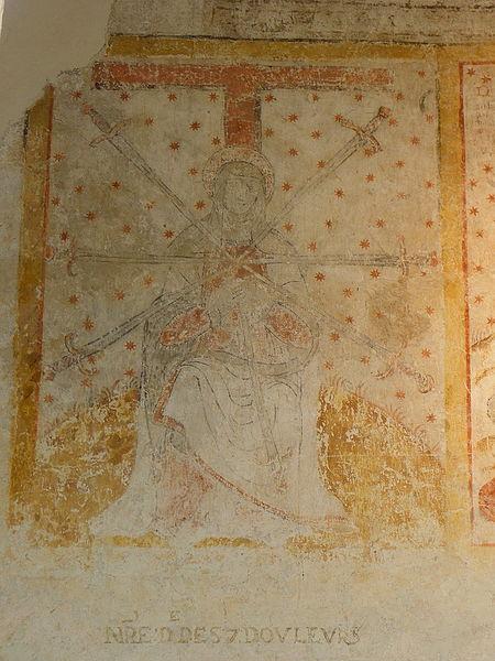 Peinture murale de l'église Saint-Pierre de Parné-sur-Roc (53). Notre-Dame des sept douleurs.