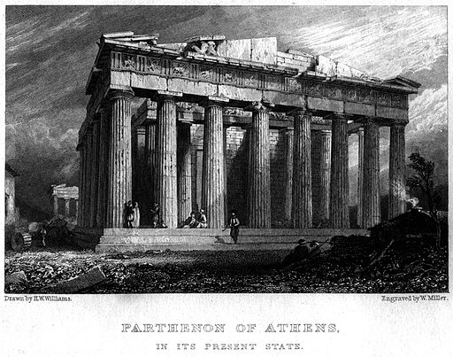 Parthenon of Athens engraving by William Miller after H W Williams