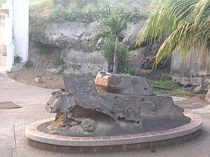 "Violeta Chamorro - Cement-covered tank in Chamorro's Peace Park (Parque de Paz) symbolizing the wish of Nicaraguans that their country ""never again"" be plagued by such violence."