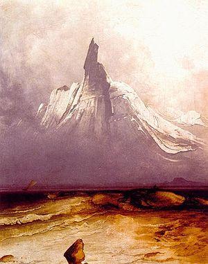 """Stetind - """"Stetind i tåke"""" painted by Peder Balke ca. 1864."""