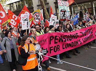 Pensions in the United Kingdom - Public sector trade union workers marching in Aldwych in November 2011