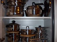 Pots in a cabinet