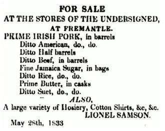 "Ditto mark - An advertisement from 1833. The second item on the list can be read as ""Prime American Pork, in barrels"", while the third is ""Prime American Pork, in Half barrels""."
