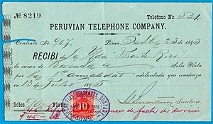 Telecommunications in Peru - A document from the Peruvian Telephone Company, Lima, 1895.