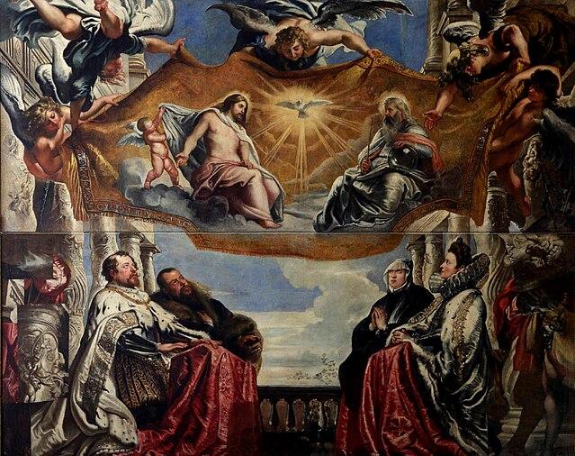 Гильермо и Винченцо Гонзага с семейством поклоняются Святой Троице. 1605, масло, холст. 185 × 462 см. Мантуя, Музей герцогского дворца