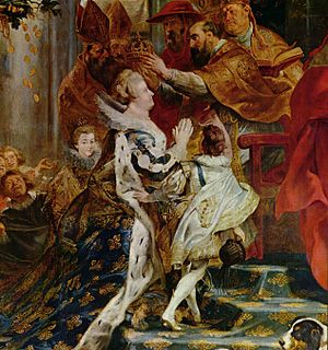 Marie de' Medici - Coronation of Marie de' Medici in St. Denis (detail), by Peter Paul Rubens, 1622–1625.