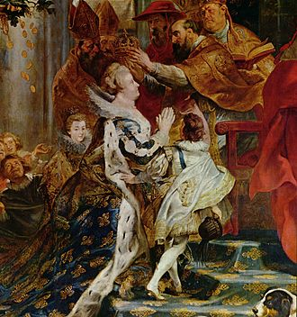 Commendation ceremony - Papacy and monarchy: Catholic Marie de' Medici assumes the traditional pose of a vassal in homage at her coronation following Henry IV's assassination, as painted by Peter Paul Rubens.